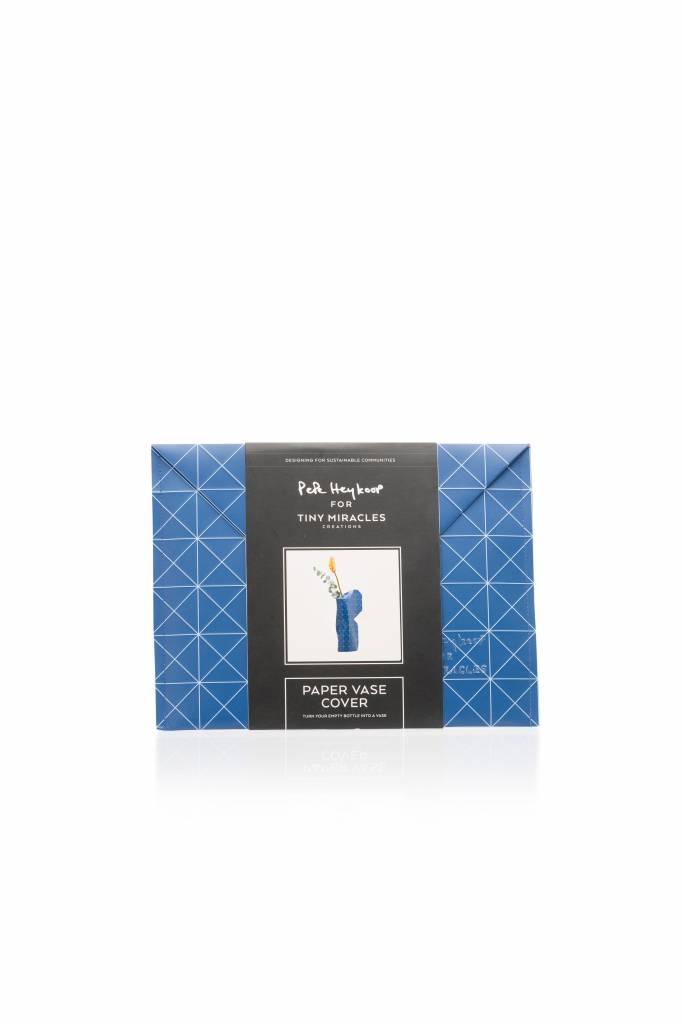 Paper Vase Cover Grid Blue-4