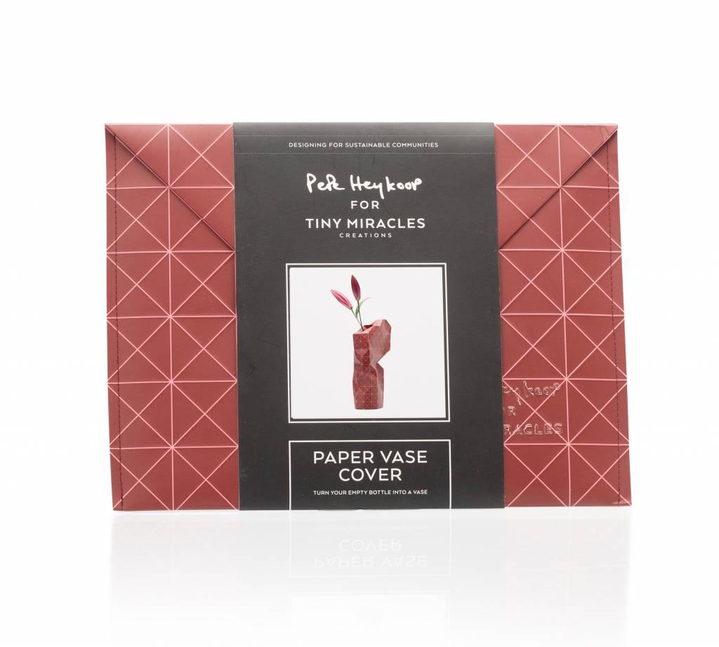Paper Vase Cover Grid Red-3