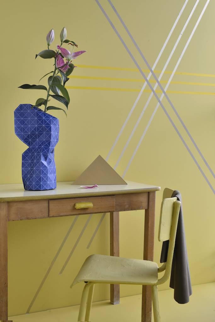 Paper Vase Cover Grid Blue-3