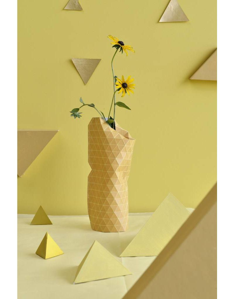 Paper Vase Cover Grid Yellow