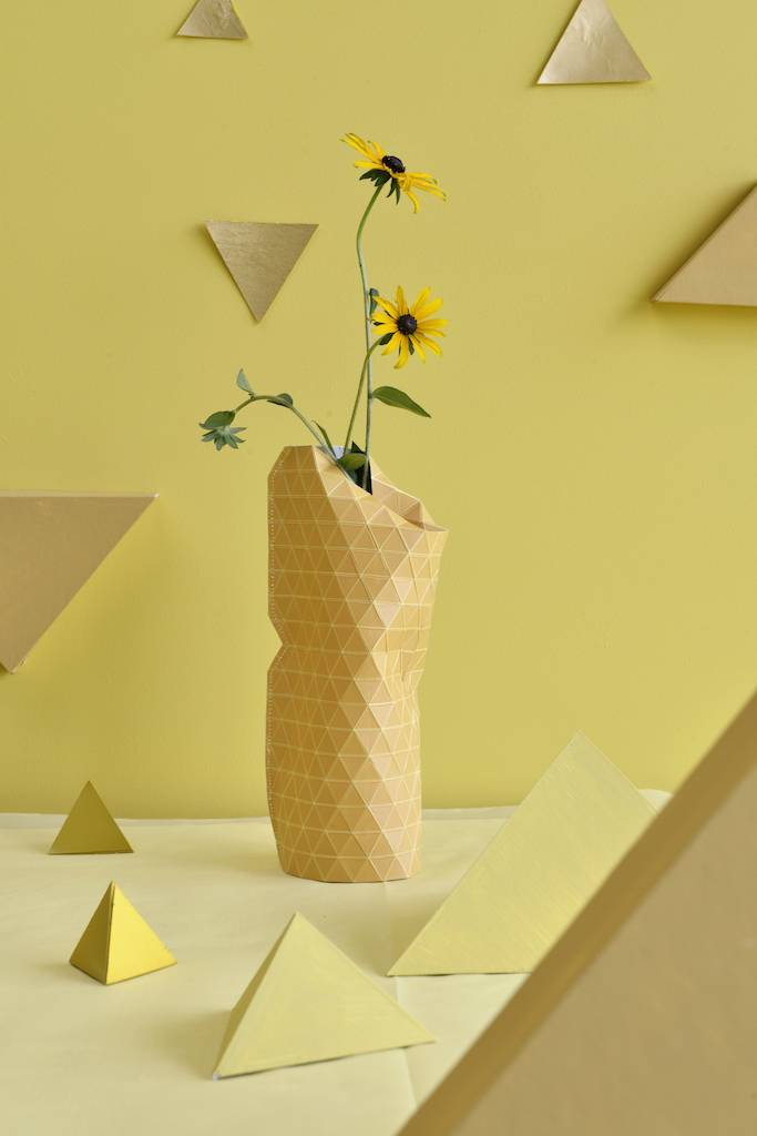 Paper Vase Cover Grid Yellow-2