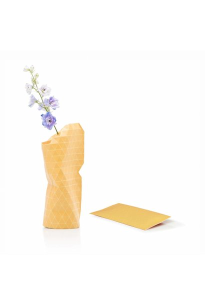 Paper Vase Cover Grid Yellow (small)