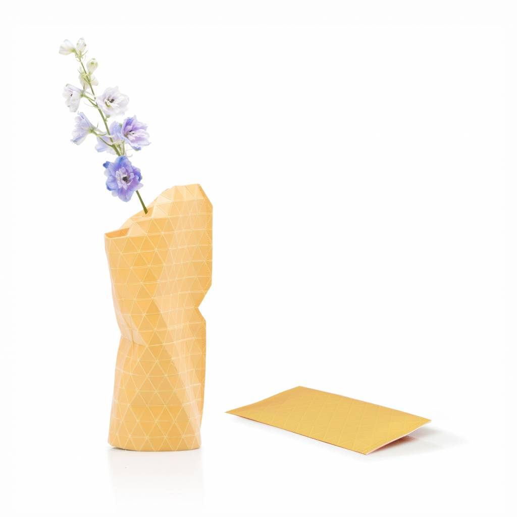 Paper Vase Cover Grid Yellow-1