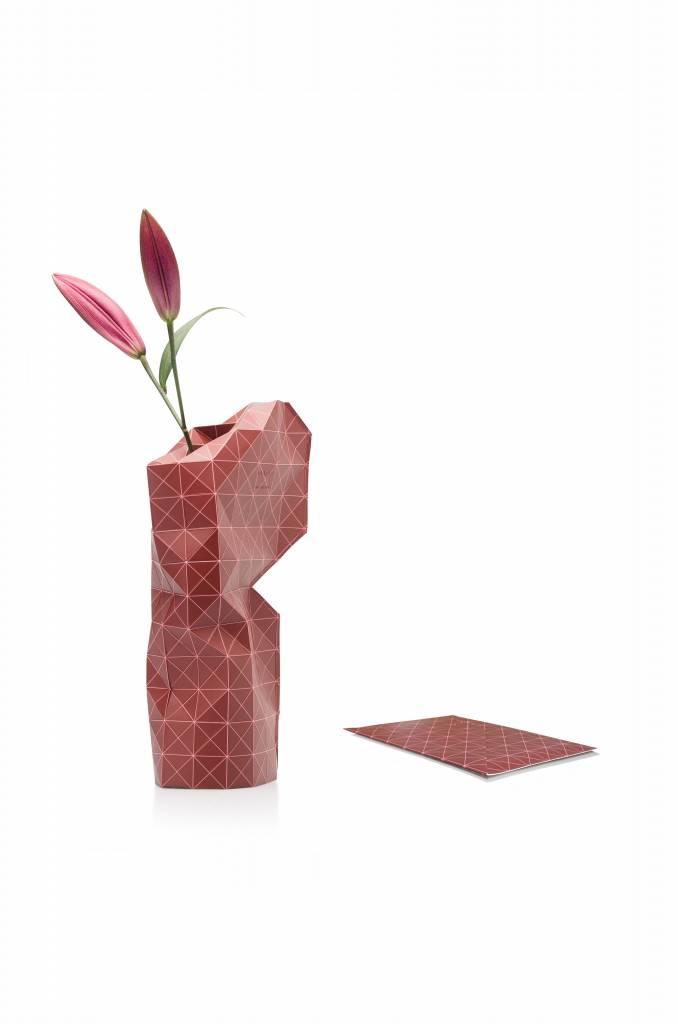 Paper Vase Cover Grid Red-2