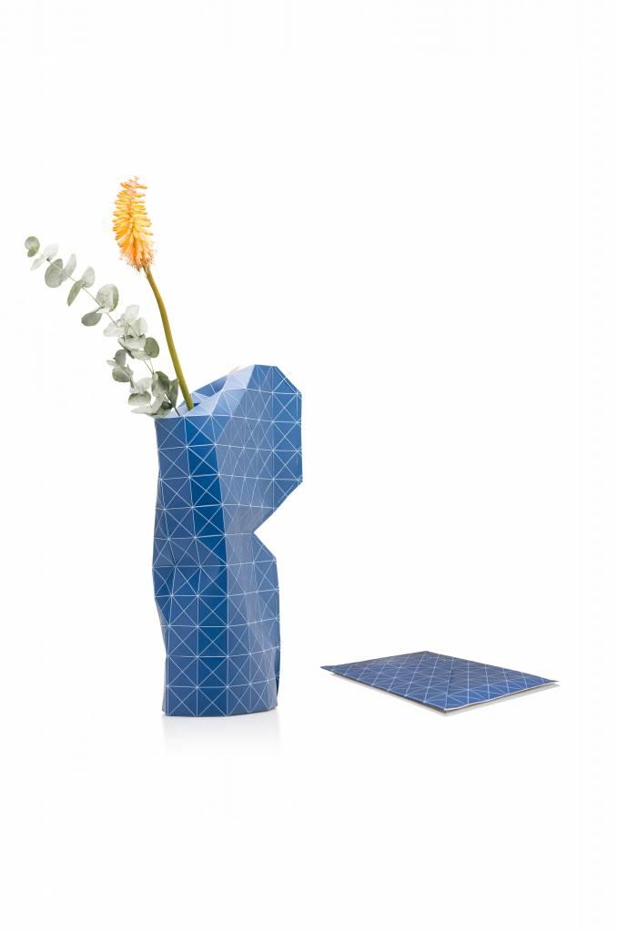 Paper Vase Cover Grid Blue-2