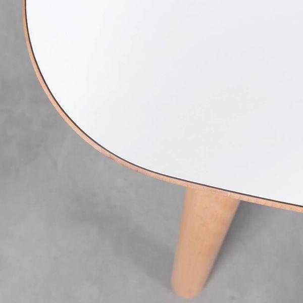 bSav & Okse Tomrer Table White Fenix Top - Beech Legs