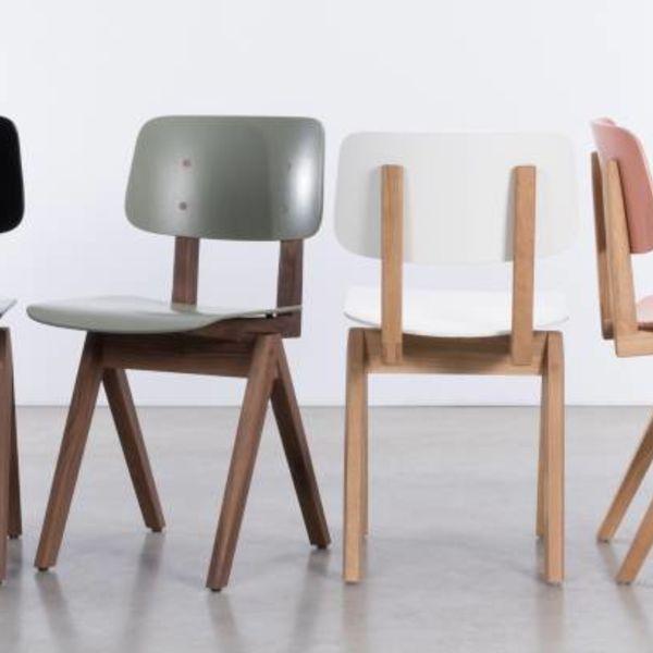 bS16H houten stoel met passervormige poten - Eiken gelakt/beigerood