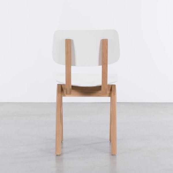 bS16H houten stoel met passervormige poten - Eiken/wit