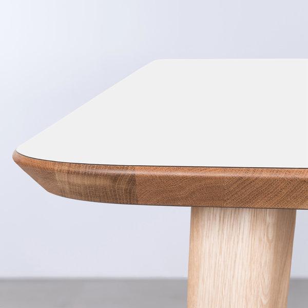 bSav & Okse Tomrer Tafel Wit Fenix blad - Eiken poten