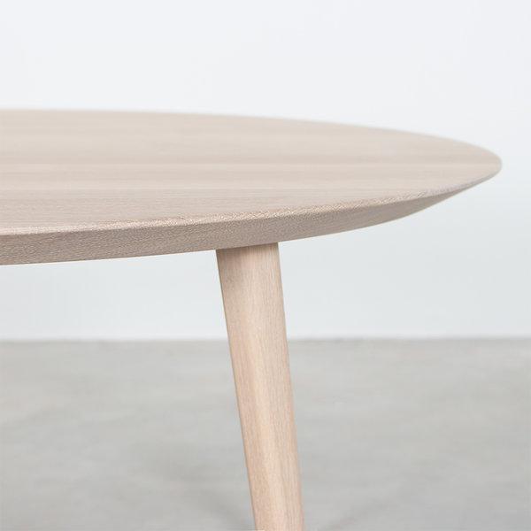 bSav & Okse Tomrer Coffee Table Round Oak Whitewash with 4 Legs