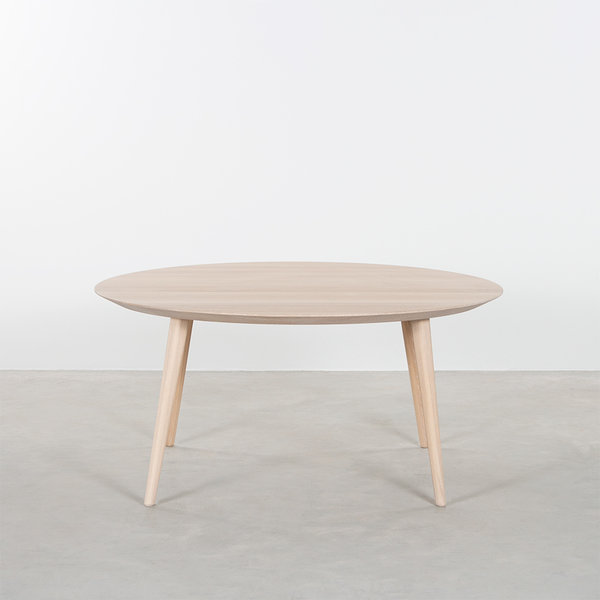 bSav & Økse Tomrer Coffee Table Round Oak Whitewash with 4 Legs