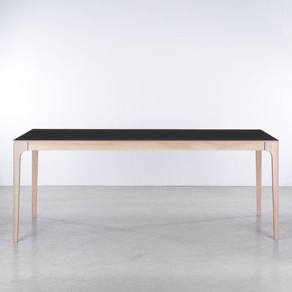 bSav & Økse Rikke Table black Fenix top - Oak Whitewash legs