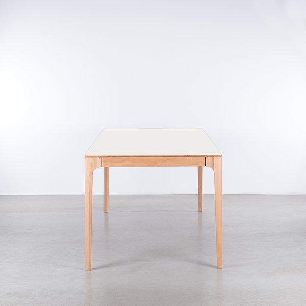 bSav & Økse Rikke Table White Fenix Top - Beech Legs