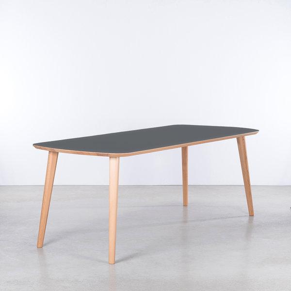 bSav & Økse Tomrer Table Basalt Gray Fenix Top - Beech Legs