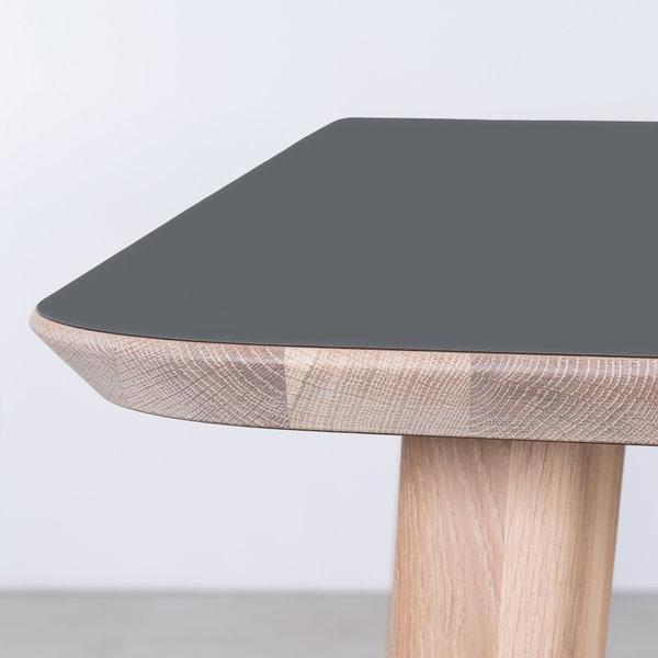 bSav & Økse Tomrer Tafel Basaltgrijs Fenix blad - Eiken Whitewash poten