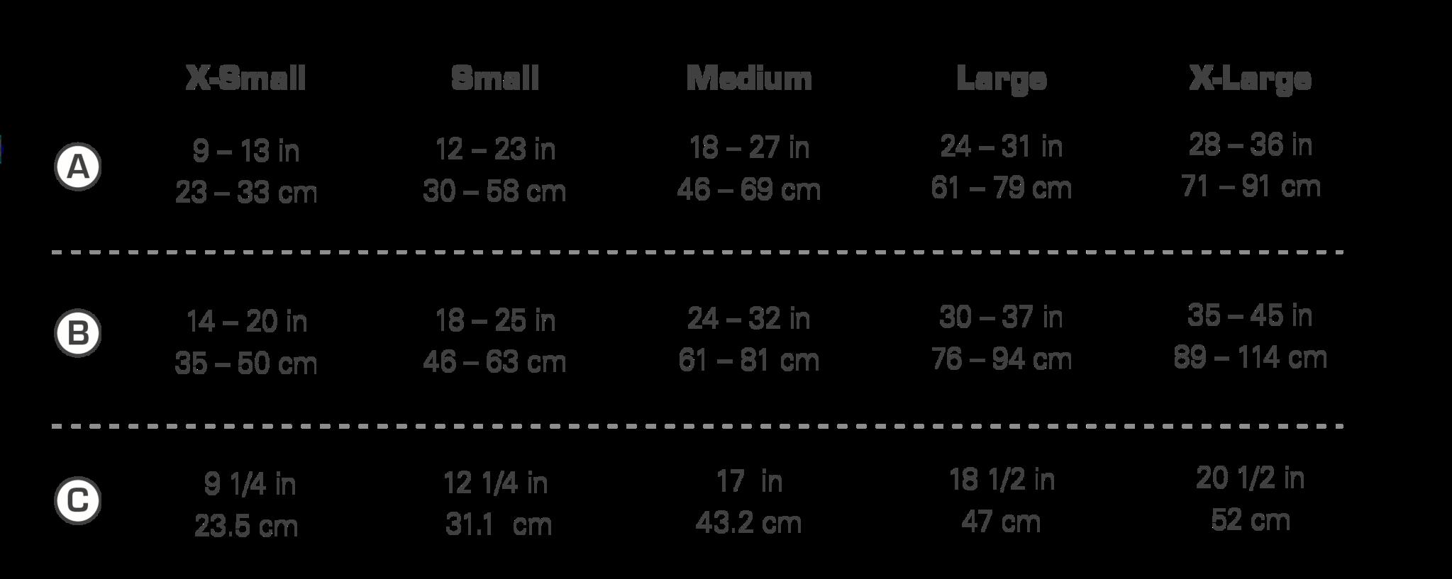 KURGO Surf N Turf dog life jacket size chart