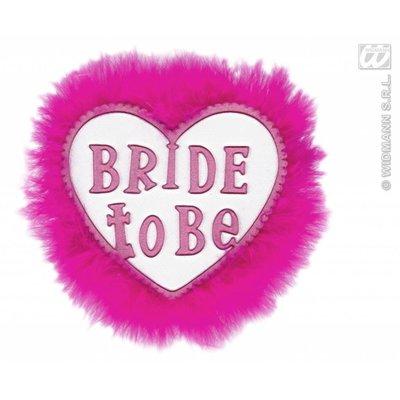 Witte broche met tekst Bride to be