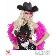 Zwarte cowboyhoed met marabou