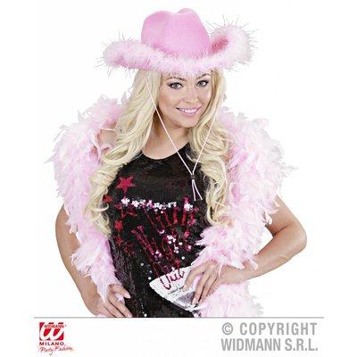 Licht roze cowboyhoed met bontje