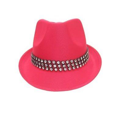 Roze hoedje met strass steentjes