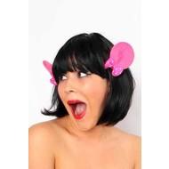Haarklem met roze Mickey oortjes
