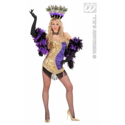 Vrijgezellen feestjurk: Vegas showgirl (goud/paars)
