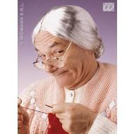 Party-kleding: Pruik, grootmoeder (in plastic doos)