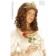 Party-kleding: Pruik, koningin met kroon