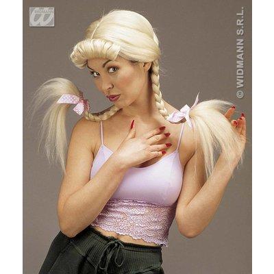 Blonde Lilly pruik met pony en vlechten