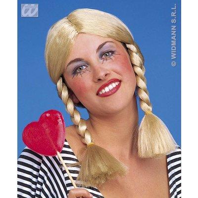 Blonde pruik met vlechten Wendy