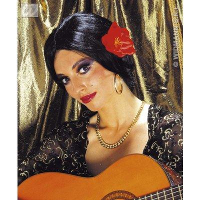 Spaanse Lolita pruik met roos