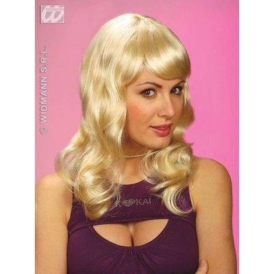 Blonde krulpruik Sarah
