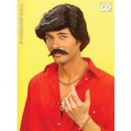 Party-accessoires: Pruik, playboy zwart met snor