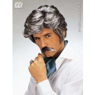 Party-accessoires: Pruik, playboy met snor grijs