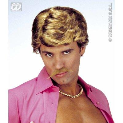 Blonde playboy pruik met snor
