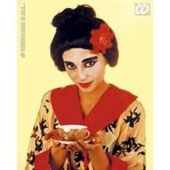Party-accessoires: Pruik, Geisha met bloem