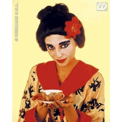 Japanse Geisha pruik met bloem