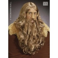 Party-accessoires: Pruik, Viking met baard en snor