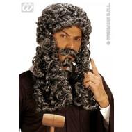 Party-accessoires Pruik, Jean Paul grijs met snor