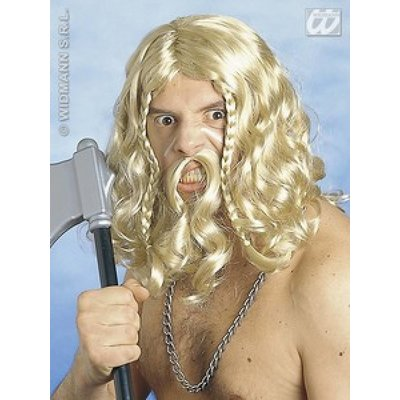 Vikingen pruik met snor