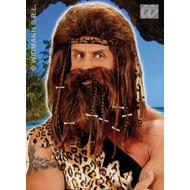 Party-accessoires: Pruik en baard Grotbewoner