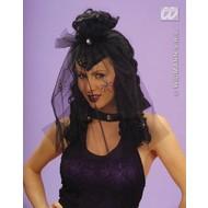 Party-accessoires Pruik, dark mistress met sluier en spin