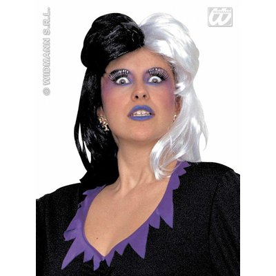 Zwart-witte heksenpruik Cornelia