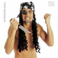 Party-accessoires Piratenpruik met hoofddoek en ooglap