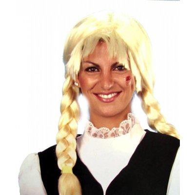 Feestkleding: Blonde pruik met vlechten