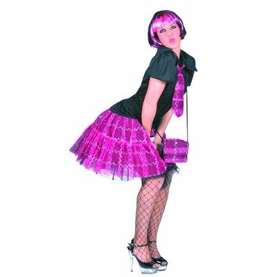 Feestkleding: Pruik Bobline roze/zwart