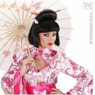 Feestpruik: Geisha met bloem en stokjes