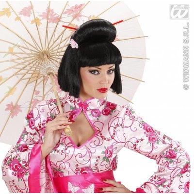 Geisha met bloem en stokjes