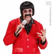 Feestpruik: Music man met snor en bril