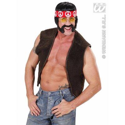 Hippie met bakkebaarden snor hoofdband en bril